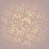 Pink floral pattern on spotted beige background Royalty Free Stock Photos