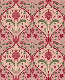 Pink floral pattern for wallpaper. Pink floral pattern with pomegranate. Seamless filigree ornament. Stylized template for wallpaper, textile, linen, shawl Stock Image