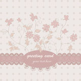 Pink floral postcard. Floral  postcard with small pink flowers Royalty Free Stock Image