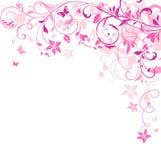 Pink floral retro card Royalty Free Stock Photos