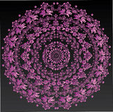 Pink floral round design on black Royalty Free Stock Photos