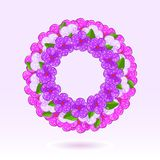 Pink Floral Round Frame Stock Photo