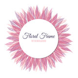 Pink floral round frame Royalty Free Stock Image