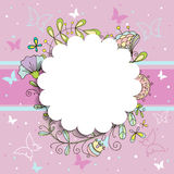 Pink floral round frame for your sample text Royalty Free Stock Photos