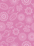Pink floral seamless. Seamless background with flowers and butterflies Royalty Free Stock Photo