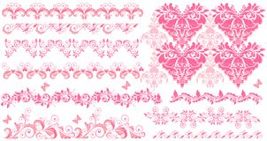 Pink floral seamless borders. Collection of pink floral seamless borders Stock Photos