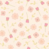 Pink floral seamless pattern. Vector EPS10 hand drawn floral seamless pattern stock illustration