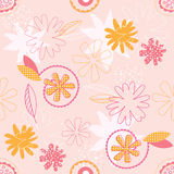 Pink floral seamless vector wallpaper. Repeating pink and orange flower pattern Royalty Free Stock Photography
