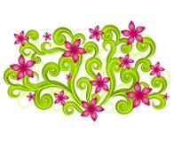 Pink Floral Swirls Garden Stock Image