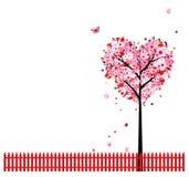Pink floral tree, heart shape for your design vector illustration