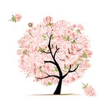 Pink floral tree, sketch for your design Royalty Free Stock Photography