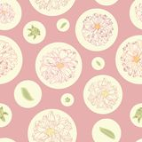 Pink pattern with dahlias and dots. vector illustration