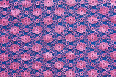 Pink floral woven fabric Thailand. Stock Photo