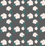 Pink florals seamless pattern in grey background. Florals with leaves seamless pattern Royalty Free Stock Photo