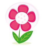 Pink flower. Logo or design element against white background