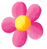 Pink flower. Acrylic illustration of pink flower isolated Royalty Free Stock Images