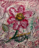 Pink Flower. Feminine abstract impressionist painting of a beautiful pink flower Stock Photo
