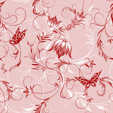 Pink Flower And Butterfly Pattern Royalty Free Stock Images