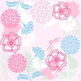 Pink flower background. Stylized flowers and grasses on a pink background Royalty Free Stock Photo