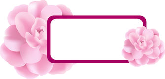 Pink Flower banner. Decorative banner or label illustration with pink flowers Royalty Free Stock Photo