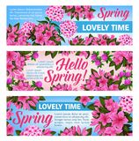 Pink flower banner of Spring Season holiday design. Pink flower banner set for Spring Season holiday celebration. Purple blossom of clover, phlox and azalea Royalty Free Stock Images