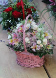 Pink flower basket Stock Photography