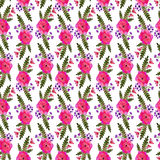Pink flower bindweed. Repeating floral pattern. Watercolor endless forest garden print. Vintage leaves art. Beautiful. Romantic design. Hand made drawn. On Royalty Free Stock Images