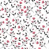 Pink flower and black leaves seamless pattern. Pink flower background royalty free illustration