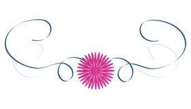 Pink flower and blue ribbons Stock Photo
