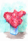 Pink flower bouquet in blue glass vase by watercolors. Summer bouquet hand-drawn illustration. Stock Images