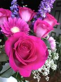 Pink flower bouquet with roses Stock Image