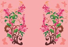 Pink flower branches with butterflies Royalty Free Stock Images