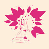 Pink Flower Breast Cancer Awareness Female Body Stock Photos