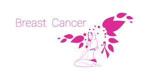 Pink Flower Breast Cancer Awareness Female Body Royalty Free Stock Image