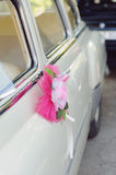 Pink Flower on Car Handle Royalty Free Stock Photography