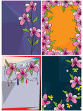 Pink flower card set Royalty Free Stock Images