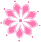 Pink flower logo. With white background and pink dots on flower petals. Vector illustration. 9 petals symmetrical design royalty free illustration