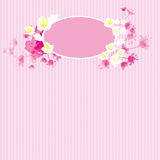 Pink flower and ellipse frame Royalty Free Stock Photos