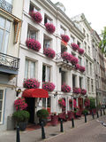 Pink flower facade Hotel. In Amsterdam Royalty Free Stock Photo