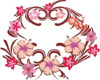 Pink flower frame 02. Pink flower organic decorative frame vector stock illustration