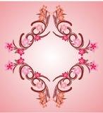 Pink flower frame 04. Pink flower organic decorative frame vector vector illustration