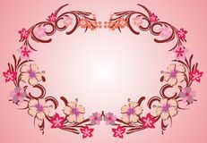 Pink flower frame 07. Pink flower organic decorative frame vector vector illustration