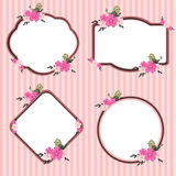 Pink Flower Frame Vector. Pink frame with flower and bird decoration. Cute design Stock Image