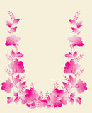 Pink flower frame on white Stock Photo