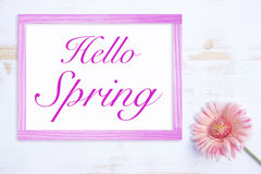 Pink flower and frame with words Hello Spring Stock Photography
