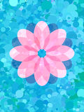 Pink flower on fresh blue dot pattern Royalty Free Stock Photos