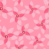 Pink flower with gemstone seamless pattern Royalty Free Stock Photos
