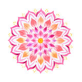 Pink flower hand drawn mandala royalty free illustration