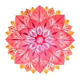 Pink flower hand drawn mandala in watercolors technique Stock Photo