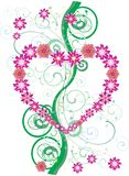 Pink flower heart and green curls Stock Photography